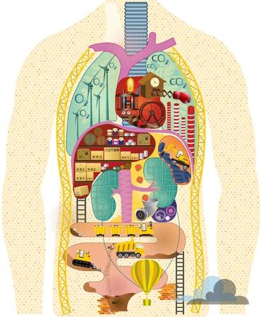 Gestileerde illustratie van het menselijk spijsverteringsstelsel. Vector illustratie. Stock Illustratie