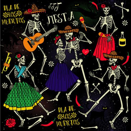 Dia de los Muertos . La danza esqueleto. Foto de archivo - 47529713