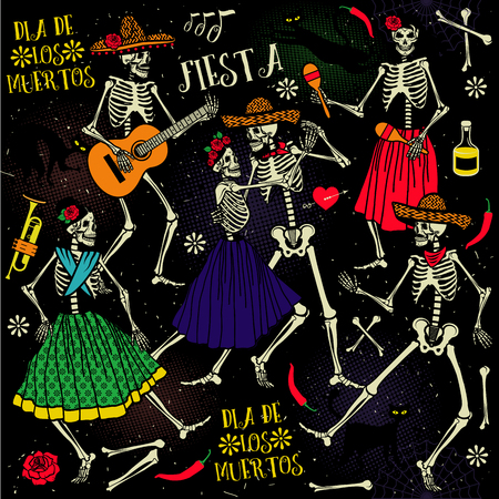 squelette: Le jour des morts . La danse du squelette.