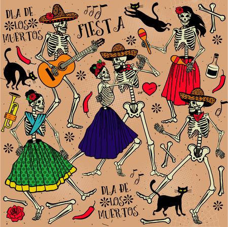 Dia de los Muertos . La danza esqueleto. Foto de archivo - 47529716
