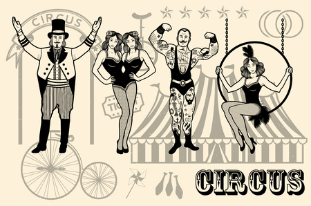 performers: Pattern Of The Circus. The strong man, The siamese twins, The Circus Entertainer, The Circus Air Acrobat. Vector illustration.