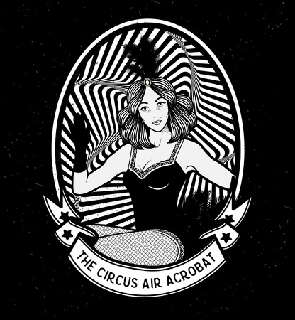 young girl nude: The Circus Air Acrobat.  Vector illustration. Illustration of circus star. Illustration