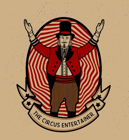 circo: El animador de circo. Ilustración del vector. Ilustración de la estrella del circo.