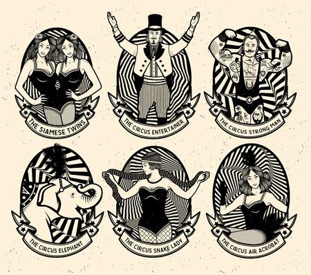 mago: Circo establecido. Iconos monocrom�ticos colecci�n. Ilustraci�n del vector. Ilustraci�n de estrellas del circo. Vectores