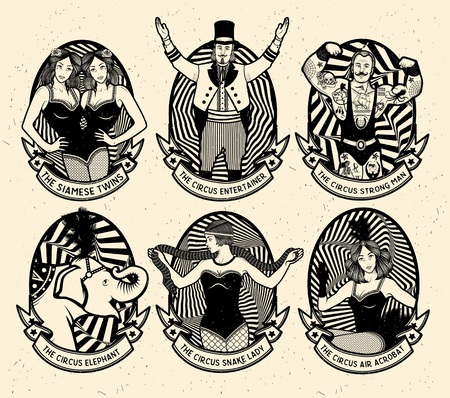 Circus set. Monochrome icons collection. Vector illustration. Illustration of circus stars. Ilustracja