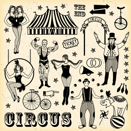 entertainer: Pattern Of The Circus. The strong man, The siamese twins, The Circus Entertainer, The Circus Air Acrobat, The Snake Lady, The Joggler and The Elephant. Vector illustration.