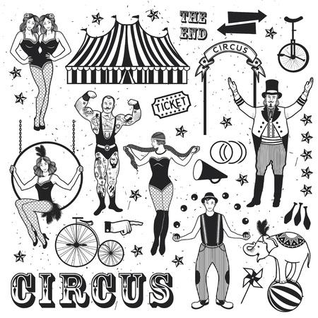 サーカスのパターン。強い男、シャム双生児、象、Joggler の蛇女性、サーカス、アクロバット、サーカス芸人。ベクトルの図。  イラスト・ベクター素材