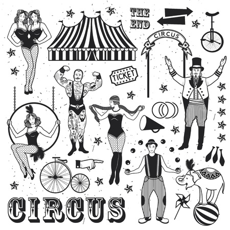 manege: Pattern Of The Circus. The strong man, The siamese twins, The Circus Entertainer, The Circus Air Acrobat, The Snake Lady, The Joggler and The Elephant. Vector illustration.