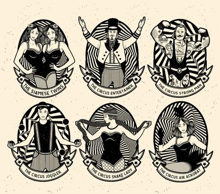 Circus gesetzt. Monochrome Icons Sammlung. Vektor-Illustration. Illustration von Zirkusstars. Vektorgrafik