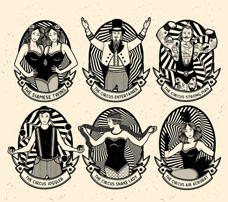Circus set. Monochrome iconen collectie. Vector illustratie. Illustratie van circus sterren.