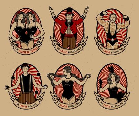 circo: Circo establecido. Iconos monocromáticos colección. Ilustración del vector. Ilustración de estrellas del circo. Vectores