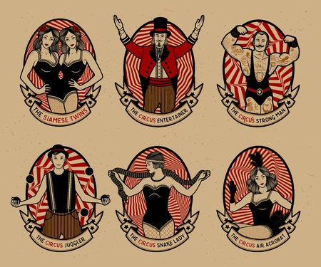 Circus set. Monochrome icons collection. Vector illustration. Illustration of circus stars. Vettoriali