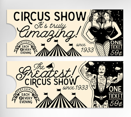 biglietto: set Circus. Circo Biglietto d'epoca. Illustrazione vettoriale. Illustrazione delle stelle del circo. Vettoriali
