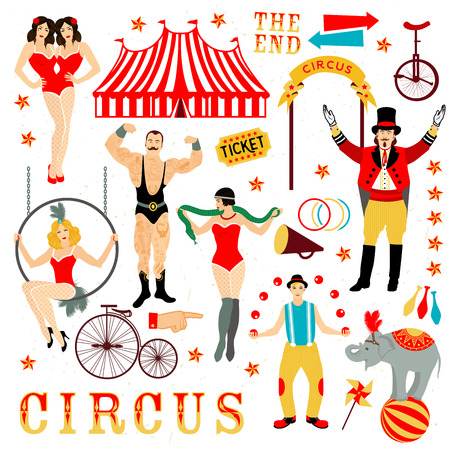 Circus set. Colorful icons collection. Vector illustration. Illustration of circus stars. Vettoriali