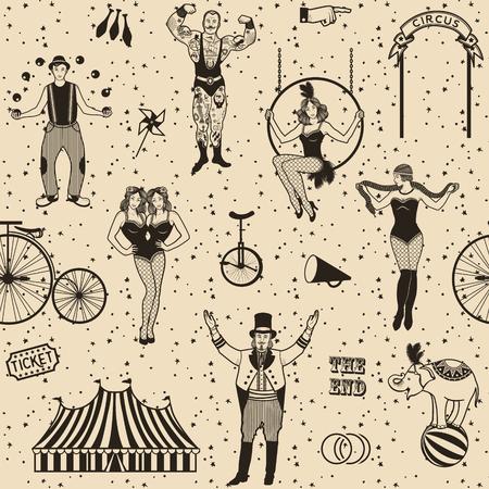 Circus set. Monochrome icons collection. Vector illustration. Illustration of circus stars. Vettoriali