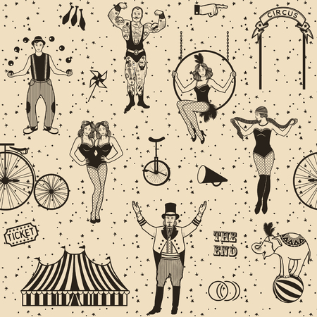 Circus set. Monochrome icons collection. Vector illustration. Illustration of circus stars. Çizim