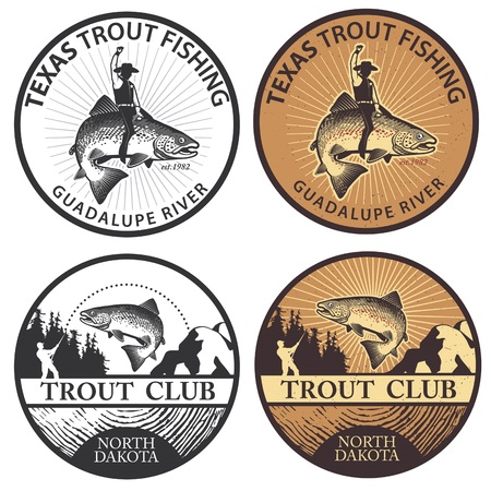 rainbow trout: Trout fishing. Vintage trout fishing emblems, labels and design elements.  Vector illustration.