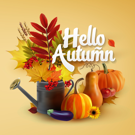Hello Autumn Typographical Background With autumn leaves, vegetables and flowers Illustration