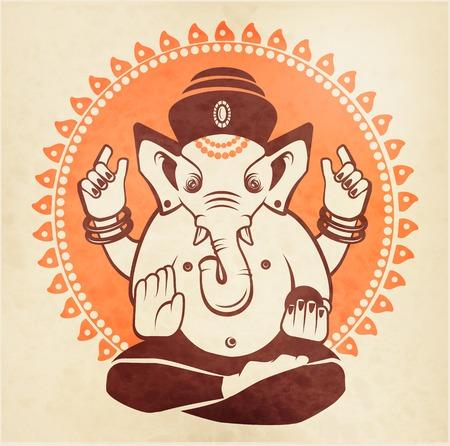 god of wealth: Indian god Ganesha on a beige background Illustration