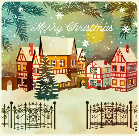 town: Snow covered little town. Merry Christmas illustration.