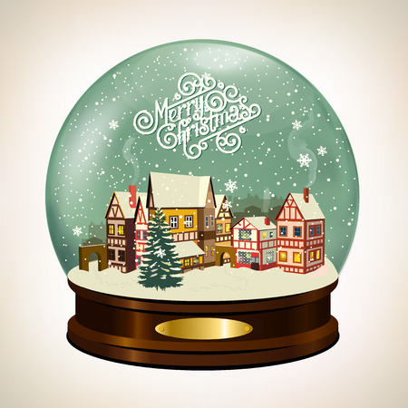 Christmas Snow globe with a little town. Merry Christmas illustration.