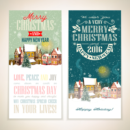 holiday celebrations: Christmas and New Year banners with type design - vector illustration with winter town