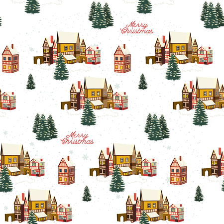 Snow covered little town. Merry Christmas seamless pattern.