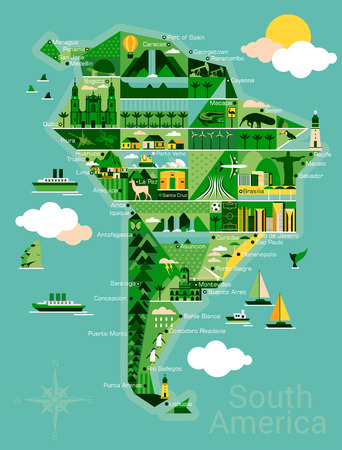 South America map with landscape and animal. Vector illustration. Vettoriali