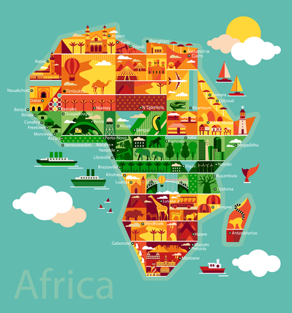waterfall in forest: Africa map with landscape and animal. Vector illustration.