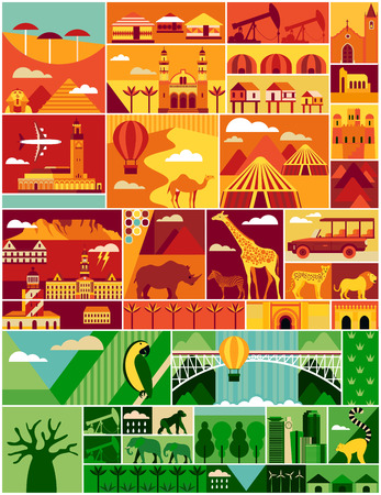 africa continent: Africa pattern. Africa vector illustration with landscape and animal.