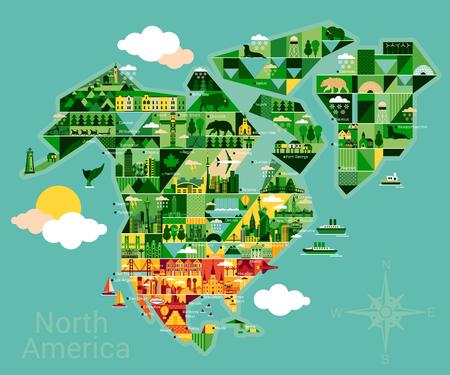 América del Norte mapa con el paisaje y los animales. Ilustración del vector.