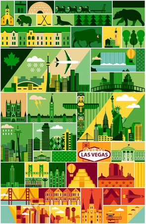 North America pattern with landscape and animal. Vector illustration.
