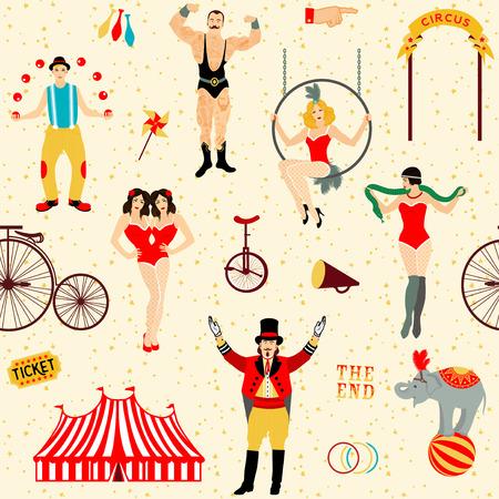 Circus gesetzt. Bunte Icons Sammlung. Vektor-Illustration. Illustration von Zirkusstars.