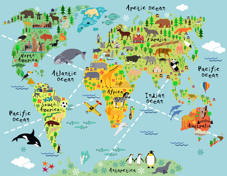 Cartoon world map with landscape and animal. Vector illustration. Иллюстрация
