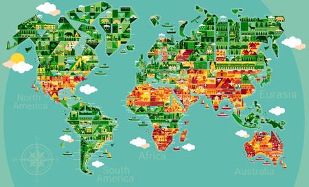 carte du monde de bande dessinée avec le paysage et l'animal. Vector illustration.