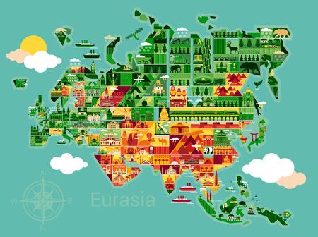 ユーラシアの風景や動物マップ。ベクトルの図。