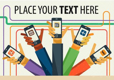 servicios publicos: Vector de infografía creativas planas modernas de diseño de aplicaciones de servicios públicos. Taxi, banca en línea, entrega de alimentos, noticias, entradas. Manos masculinas que sostienen el teléfono con la aplicación de servicio. Vectores