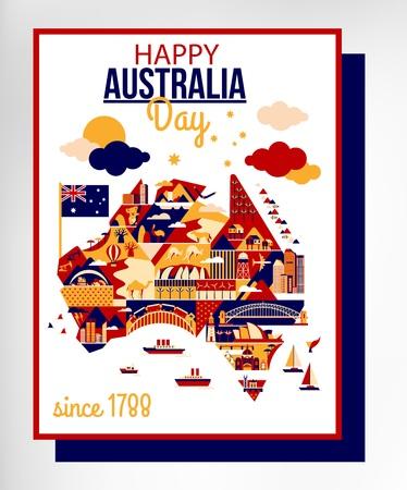 sidney: Cartoon Australia map for Australia Day. Vector illustration.