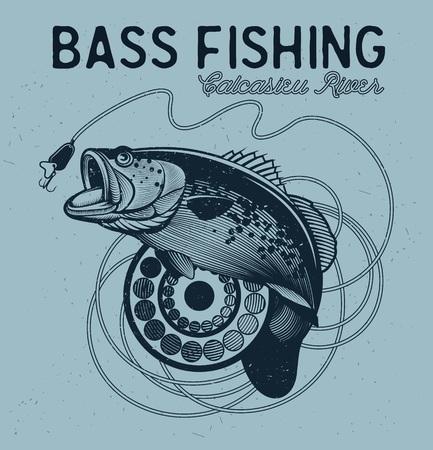 pesca: Emblema de la vendimia bajo de la pesca, elemento de diseño y etiqueta Vectores
