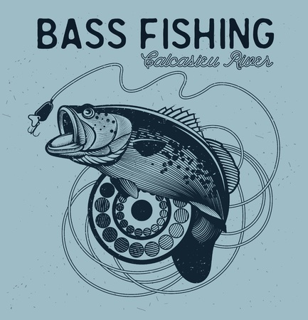 bass fishing: Vintage bass fishing emblem, design element and label