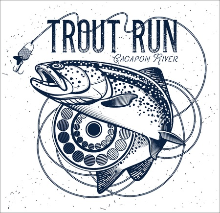Vintage trout fishing emblem, label. Vector illustration.