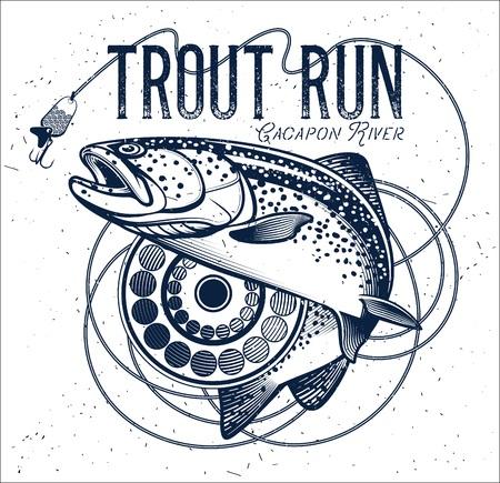 sea bass: Vintage trout fishing emblem, label. Vector illustration.