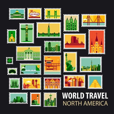 city buildings: World Travel, North America. Icons set. Stamps with historical architecture in the world. Vector illustration Illustration
