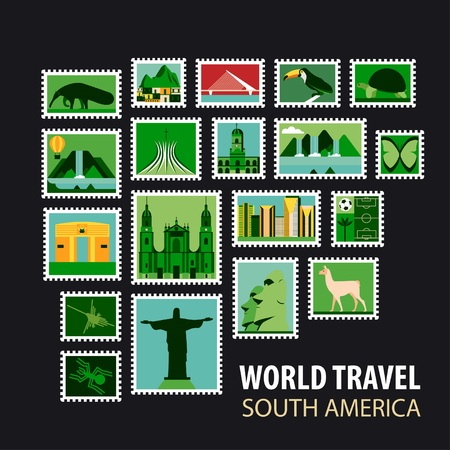 historical architecture: South America. Stamps with historical architecture in the world. Vector illustration