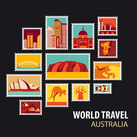 World Travel, Australia. Icons set. Stamps with historical architecture in the world. Vector illustration