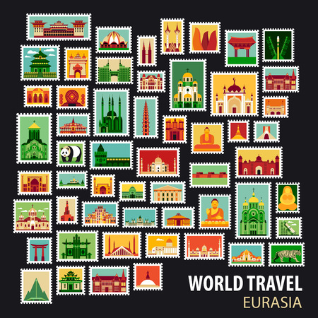 world travel: World Travel, Eurasia. Icons set. Stamps with historical architecture in the world. Vector illustration