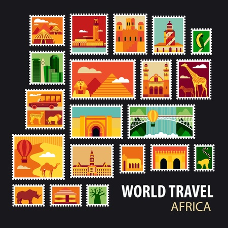 continent: World Travel, Africa. Icons set. Stamps with historical architecture in the world. Vector illustration