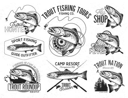 Zestaw wektora emblemat rybackiego z pstrąga
