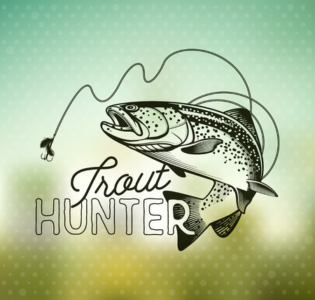 Trout Fishing emblem on blur background. Vector illustration.  イラスト・ベクター素材