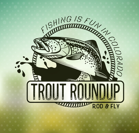 trout fishing: Trout Fishing emblem on blur background. Vector illustration. Illustration